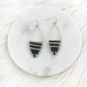 Black and Gold Beaded Boho Dangle Earrings